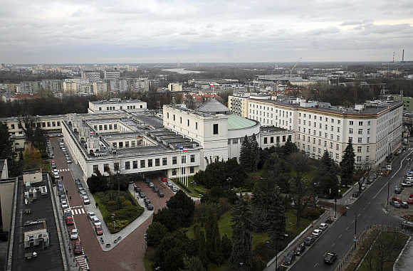 A view of the Parliament building in Warsaw, Poland.