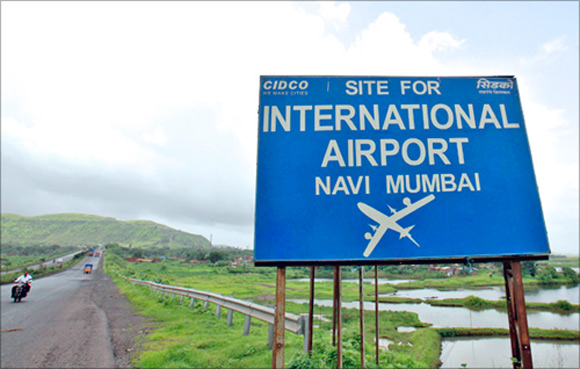 A signboard at the proposed site of the Navi Mumbai International Airport.