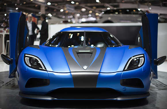 Koenigsegg Agera 2 at the Geneva Auto Show in Switzerland.