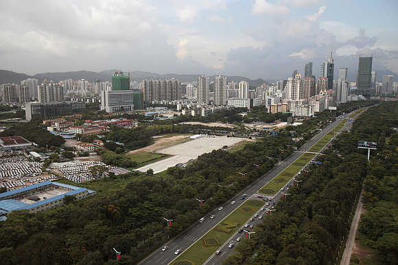 High rise commercial and residential buildings in Shenzhen.