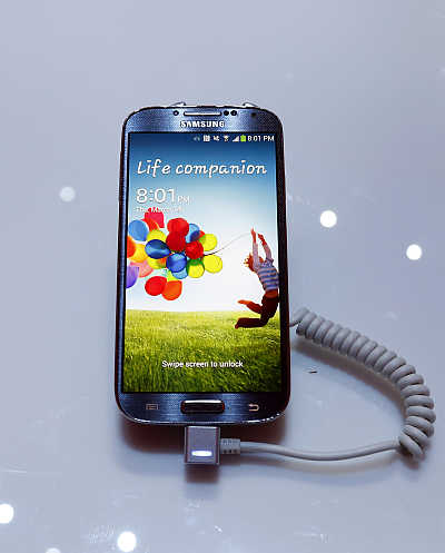 Samsung Galaxy S4 smartphone at the Radio City Music Hall in New York.