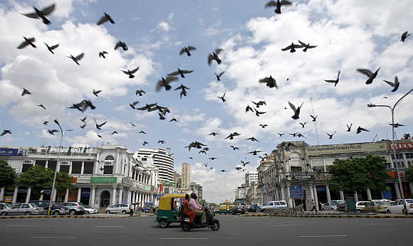 A view of Connaught Place in New Delhi.