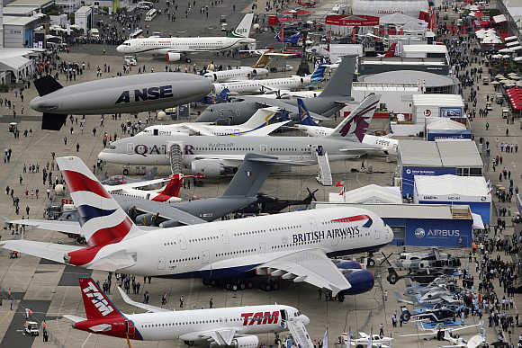 An aerial view of the 50th Paris Air Show, at the Le Bourget airport, near Paris.