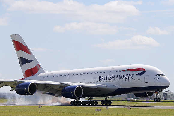 A British Airways Airbus A380 lands at the Le Bourget airport near Paris.