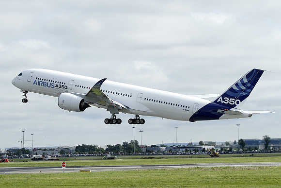 Airbus A350 takes off at the Toulouse-Blagnac airport in southwestern France.
