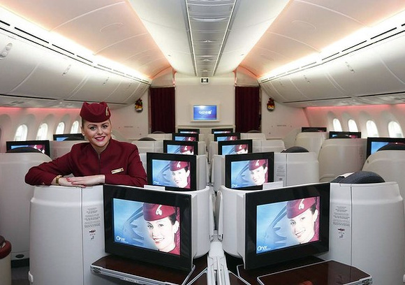 Business class cabin of Qatar Airways new Boeing 787 Dreamliner.