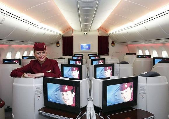 Business class cabin of Qatar Airways new Boeing 787 Dreamliner.