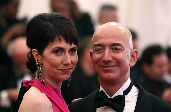 Amazon CEO Jeff Bezos with wife Mackenzie in New York.
