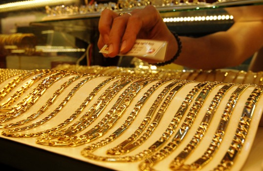 Gold chains are displayed for sale at a shop in Hanoi.