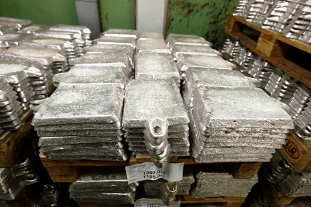 Unrefined pieces of silver are stacked at the KGHM copper and precious metals smelter processing plant in Glogow.