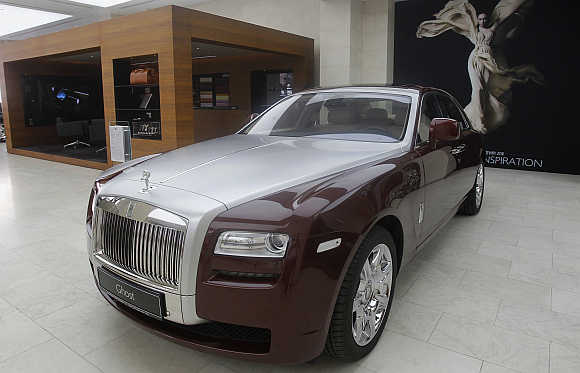 A Rolls-Royce Ghost at their showroom in Doha, Qatar.