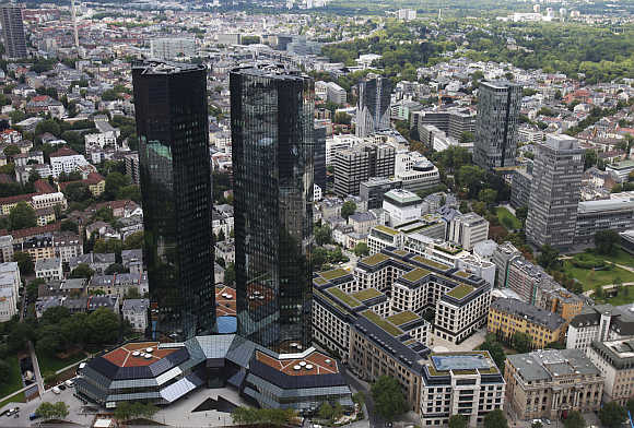 Headquarters of Germany's largest business bank, Deutsche Bank, in downtown Frankfurt.