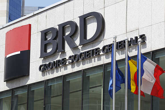 Logo of Romania's largest listed bank BRD at the bank's headquarters in Bucharest.