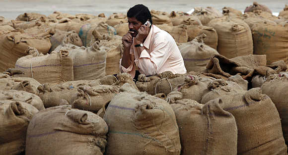 A man speaks on a mobile phone amid sacks filled with wheat and rice in Ahmedabad.