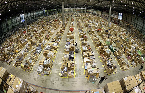 Amazon.co.uk warehouse in Milton Keynes, north of London.