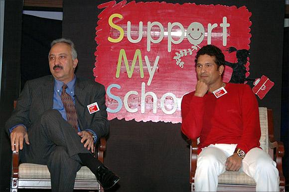 Atul Singh with Sachin Tendulkar.