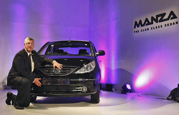 Tata Motors' Managing Director Karl Slym with  Tata Indigo Manza club class sedan in Mumbai.