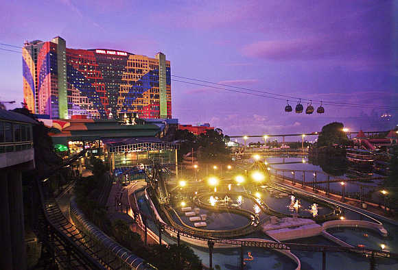 A view of Malaysia's First World Hotel and Plaza surrounded by a theme park, 60km east of capital Kuala Lumpur.