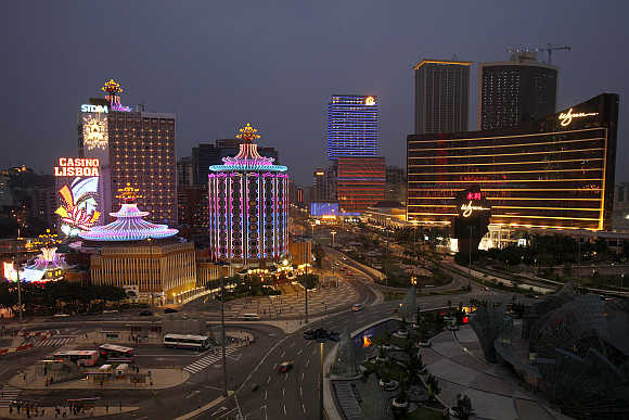 A view of casinos in Macau.