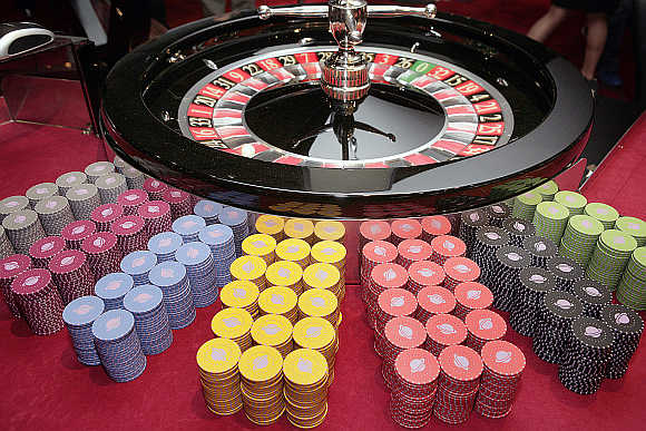 A roulette wheel at the Casino Barriere in Toulouse, France.