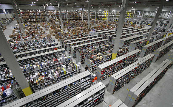 A view of an Amazon warehouse in Leipzig, Germany.