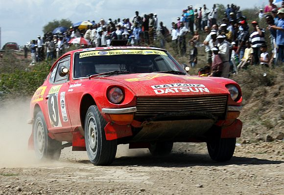 Datsun 240Z can be seen during a rally near Nairobi.