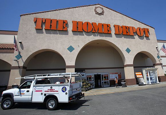The entrance to The Home Depot store is pictured in Monrovia, California.