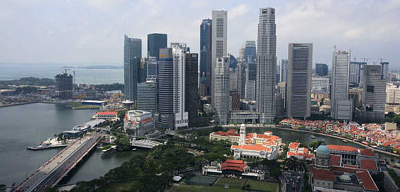 A view of the skyline of Singapore's Financial District.