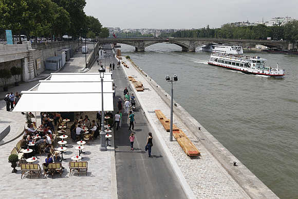 A view of the Seine River in Paris, France.