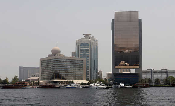 A view of Emirates NBD bank headquarters in Dubai, United Arab Emirates.