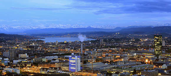 A view of Zurich, Lake Zurich and the eastern Swiss Alps in Switzerland.