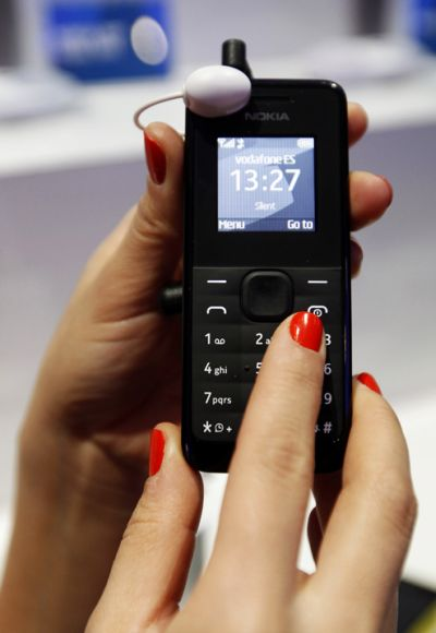 The new Nokia 105 is pictured during the Mobile World Congress in Barcelona.