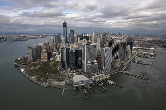 An aerial view of the Manhattan skyline as seen from Lower Manhattan in New York City.