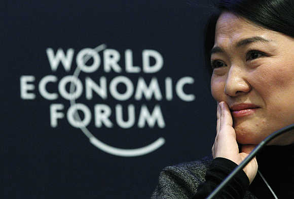 Soho CEO Zhang Xin attends a session at the World Economic Forum in Davos, Switzerland.