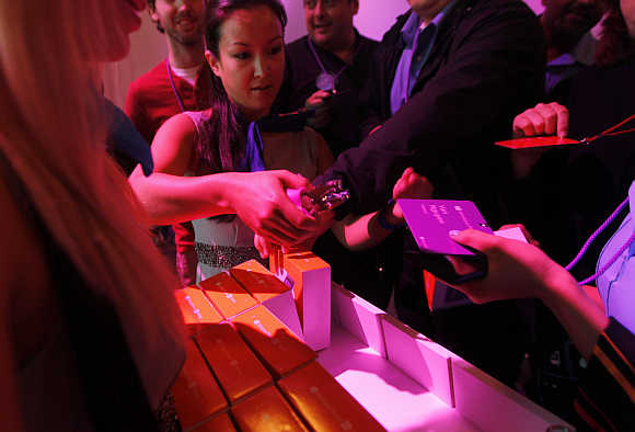 Windows Phone 8 are given out following the Microsoft launch event in San Francisco, California.