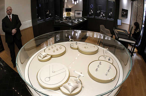 A view shows jewellery and watches displayed in glass cabinets at the shop of Swiss luxury brand Piaget at the Bahnhofstrasse in Zurich, Switzerland.