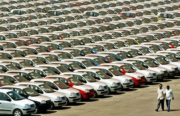 Hyundai cars are ready for shipment at a port in Chennai.
