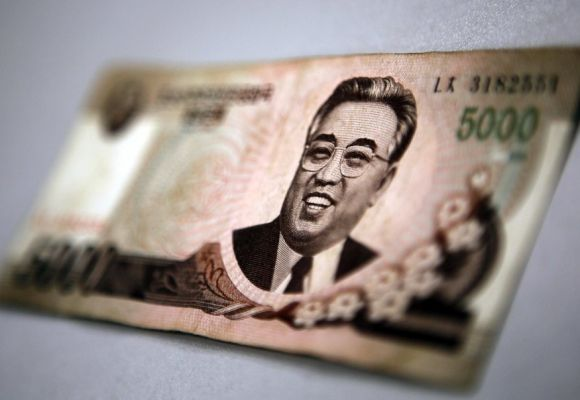 North Korean leader Kim Il-sung is seen on this 5,000 North Korea won banknote.