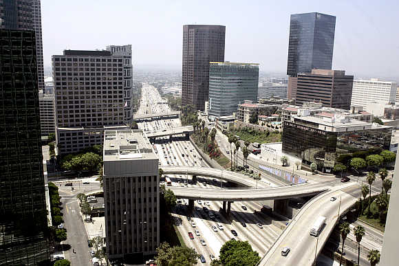 A view of the Harbor Freeway in Los Angeles, California.