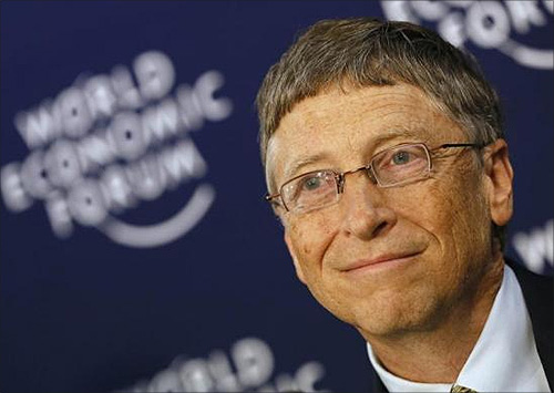 Microsoft founder and philanthropist Bill Gates addresses delegates during the annual meeting of WEF in Davos.