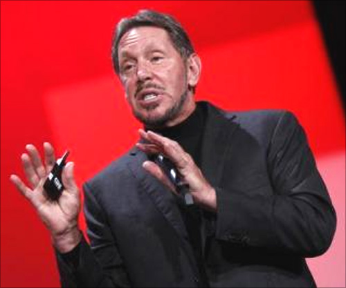 Oracle Chief Executive Larry Ellison delivers his keynote address at Oracle Open World in San Francisco.