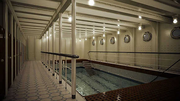 The ship also had a swimming pool.