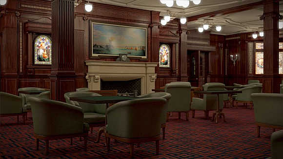 Smoking Room was designed to resemble the fashionable gentleman's clubs of New York and London.