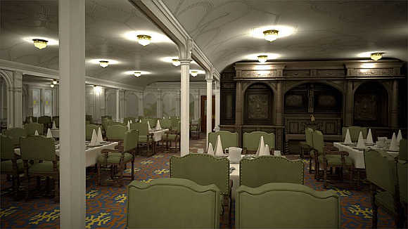 First-class Dining Saloon was the largest room on any ship at the time.