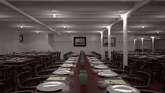 On Titanic the third-class Dining Saloon was split in two sections.
