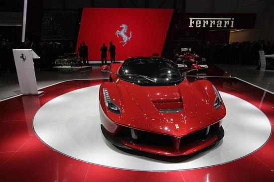 The new LaFerrari hybrid car is pictured on the Ferrari stand during the first media day of the 83rd Geneva Car Show.