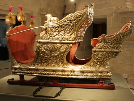 One of the exhibits at the museum: Traditional royal transport accessory like the haudah used for mounting elephants in religious, state and military processions.