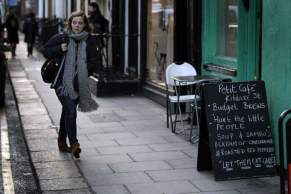 A sandwich board is seen outside a cafe in Dublin, Ireland.
