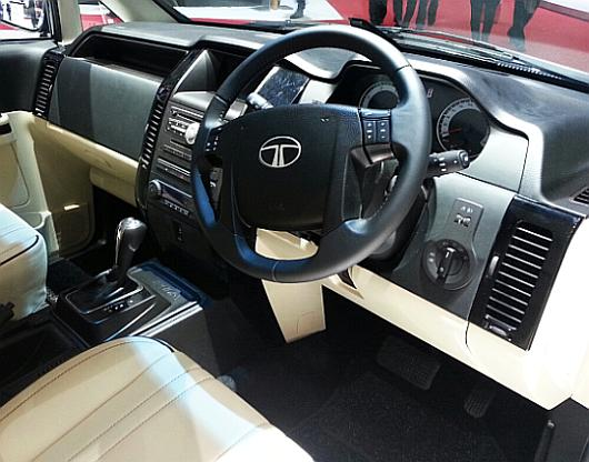 Interior of facelifted Tata Aria.