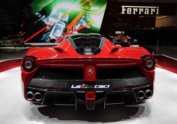 Rear view of LaFerrari hybrid car at Geneva Car Show.